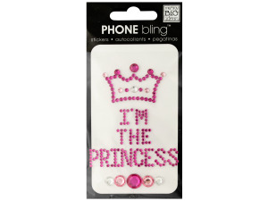 Pink 'I'm the Princess' Phone Bling Removable Stickers