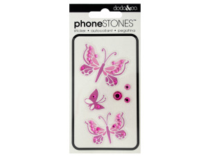 Pink Butterfly Phone Stones Stickers