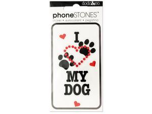 I Love My Dog Phone Stones Stickers