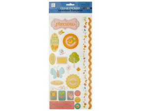 Precious Girl Clear Stickers with Glitter Accents