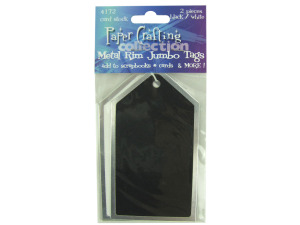 2 pc black/white metal rim card stock jumbo tags