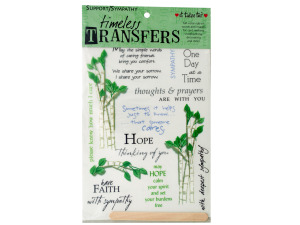 sympathy words/images rub on transfer sheet