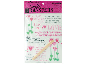 love valentine words/images rub on transfer sheet
