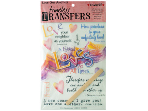 love one another words/images rub on transfer sheet
