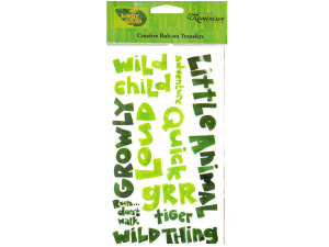 reminisce creative rub-on transfer my jungle safari phrases