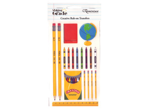 reminisce creative rub-on transfer school items