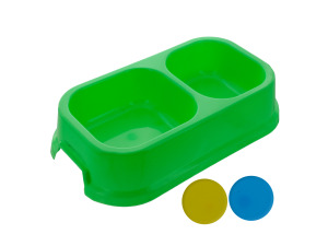 dog bowl 2 section assorted colors
