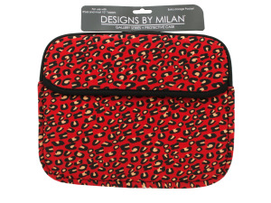 Protective Tablet Case with Red Leopard Print Design