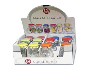 Spice jar set with colored locking lids