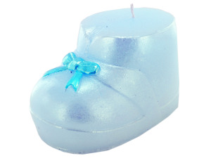 3.5 inch x 2.5 inch blue baby boot candle