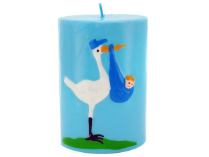 3.5inch x 2.5inch blue stork with baby candle