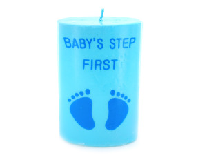 4inch x 2.5inch blue footprint candle