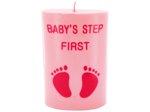 4inch x 2.5inch pink footprint candle