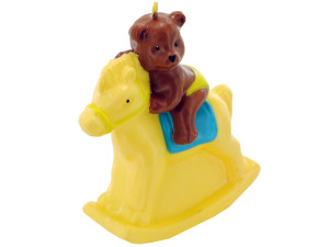 3.5inch x 4inch bear on rocking horse candle