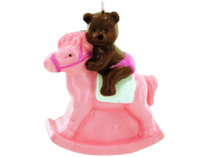 3.5inch x 4inch pink bear on rocking horse candle