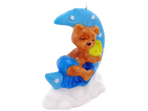 3.5inch x 4inch blue sleeping bear candle