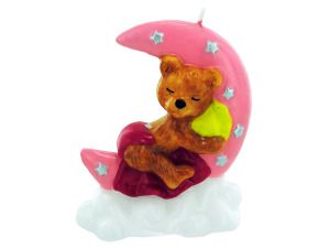3.5inch x 4inch pink sleeping bear candle