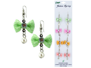 4 pair dangle bow earrings assorted colors