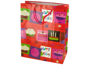 Medium Red Happy Birthday Gift Bag
