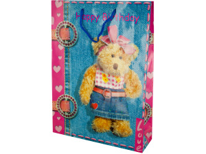 Large Pink Happy Birthday Teddy Bear Gift Bag