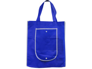 Blue Shopping Tote with Pocket
