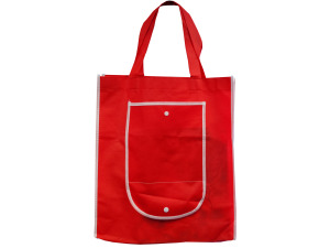 Red Shopping Tote with Pocket