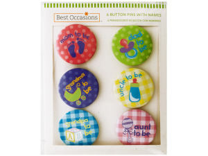 Baby Shower Button Pins with Names