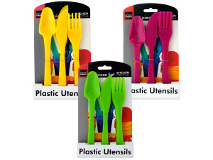 12 piece plastic cutlery set assorted colors