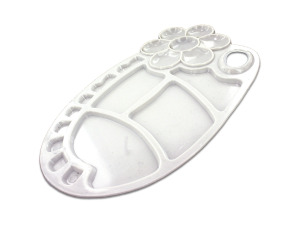 Flower-design painting tray palette, white