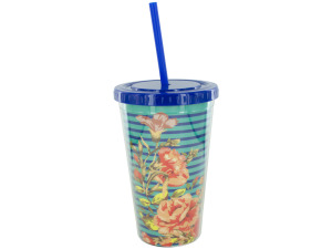 Portable Floral Beverage Cup with Straw