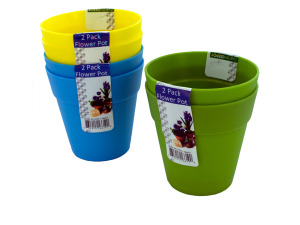 Plastic flower pots, 2 pack, assorted colors
