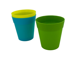 Colorful plastic flower pot, 5 inches, assorted colors