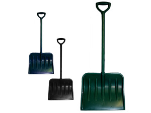 Plastic snow shovels, assorted colors