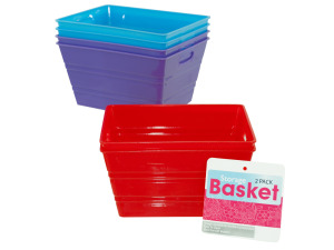 2 pack rectangle plastic tubs assorted colors