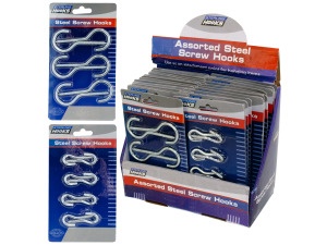 assorted metal screw steel hooks 24 per pdq