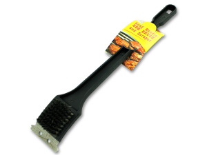 Barbecue brush with scraper