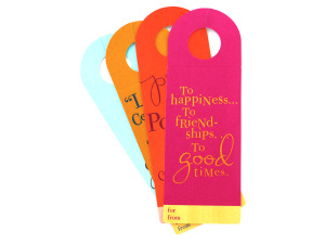 Set of four wine bottle tags