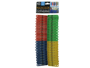 Multi-colored plastic clothespins