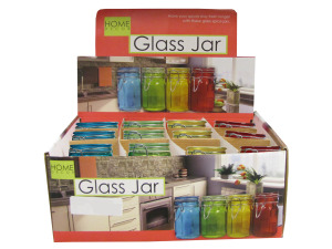 Colored glass jar display