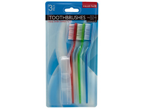 Medium bristle toothbrush with protective caps