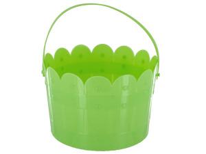 Green Scalloped Plastic Bucket with Handle