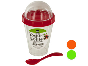 Yogurt Cup with Topping Compartment & Spoon