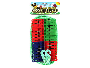 Multi-color plastic clothespins