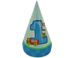 Boy's 1st birthday hats fire truck, pack of 8