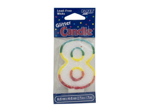 "Wholesale: ""8"" glitter birthday candle"