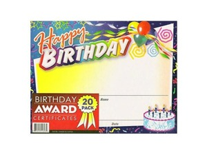 Birthday award certificates