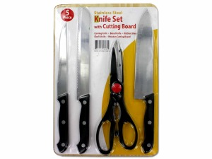 5 Pack knife set with cutting board