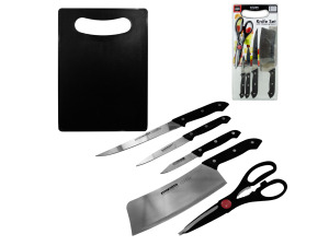 4 piece knives with 1 chopping board and 1 pair scissors