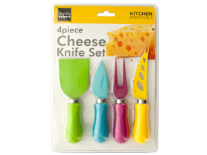 4-Piece Easy Grip Multi-Colored Cheese Knife Set