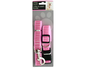 Pink Houndstooth Collar & Leash Bundle Set